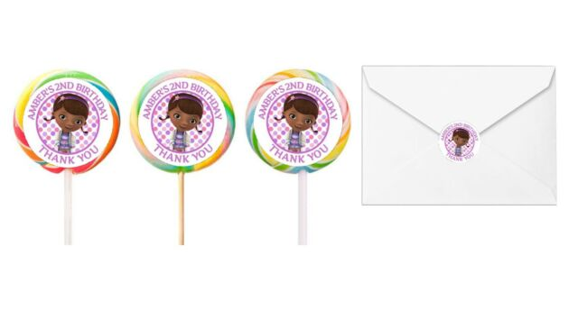 30 Doc McStuffins Stickers Lollipop Labels Party Favors Personalize ANY KIND