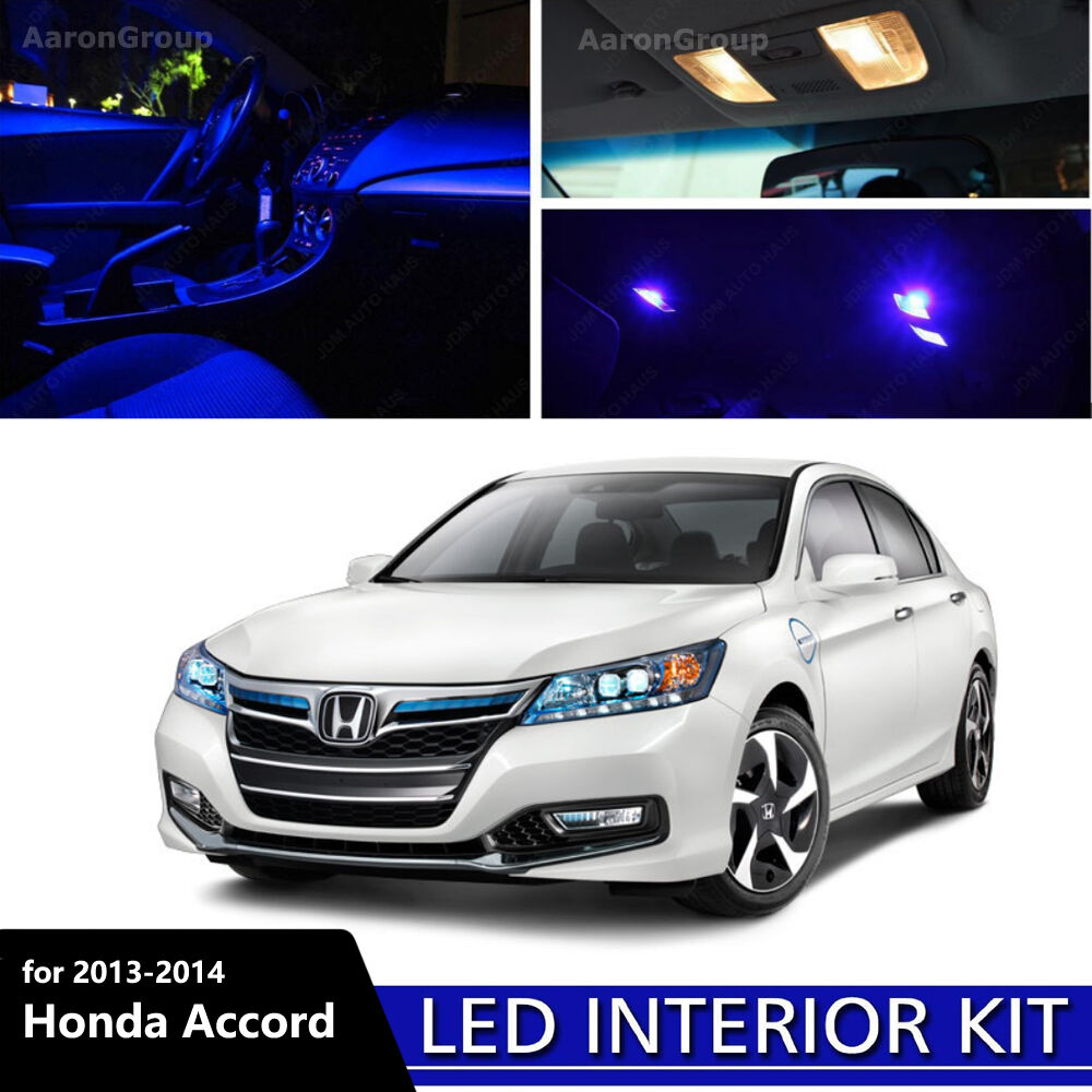 14pcs blue interior led light for 2013 2014 honda accord. Black Bedroom Furniture Sets. Home Design Ideas