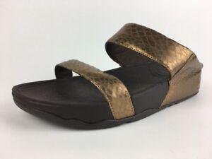 78d5b58993e0 FitFlop Lulu Metallic Snake Slide Sandal Flip Flop Bronze Women Size ...