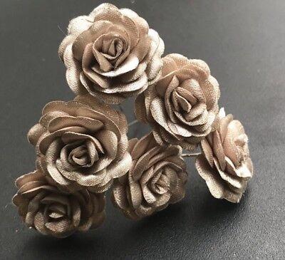 6 da cerimonia Cappuccino Marrone Rose Fiore Per Capelli Pin Clip Grip