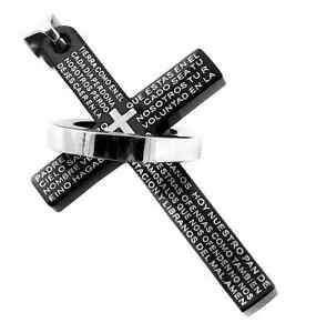 Collana-Acciaio-Catenina-Uomo-Donna-Unisex-Croce-Zirconi-Padre-Nostro-Preghiera