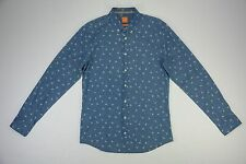 Hugo Boss Mens Medium M Blue Floral Long Sleeve Shirt Slim Button Up New NWT