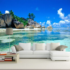 3d Ocean Beach Sea View Natural Wall Mural Wallpaper Living Room Bedroom Ebay