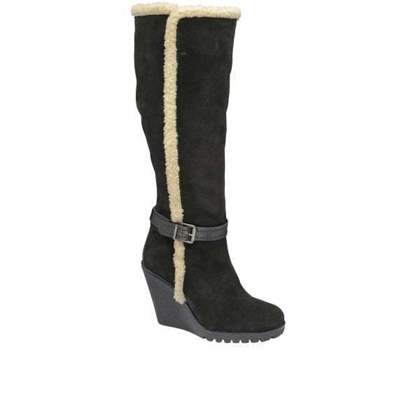Señoras De De De Cuero Gamuza Negra Ravel Eververde rodilla alta botas de cuña de invierno UK 7  lo último