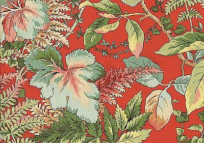 Jay Yang Barhados Red  Red Green Gold Coral Cotton Drapery Upholstery