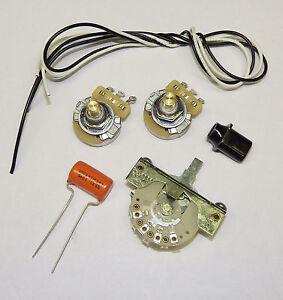 telecaster guitar wiring kit cts 500k solid shaft pots orange drop 022uf cap ebay. Black Bedroom Furniture Sets. Home Design Ideas