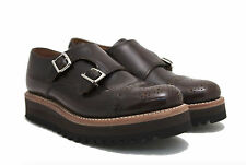 Grenson Celia Double Strap Monk Brown Wedge Women Loafer Sz. 5uk/8us/38eu