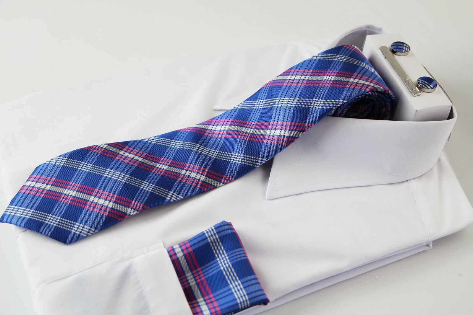 Mens Blue & Pink Checkered Matching Neck Tie, Pocket Square, Cuff Links And Tie