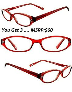 3-Pair-2-75-Foster-Grant-Marita-Crystal-Reading-Glasses-Red-Spring-Hng-MSRP-40