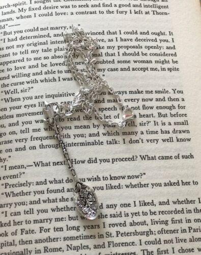 "Vintage Floral Flower Alice Inspired Mini Tea Spoon Snuff Allsorts Necklace 18/"""
