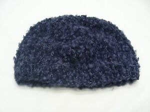 d7a6291e6ba HAND KNITTED - NAVY BLUE - INFANT ONE SIZE - STOCKING CAP BEANIE HAT ...