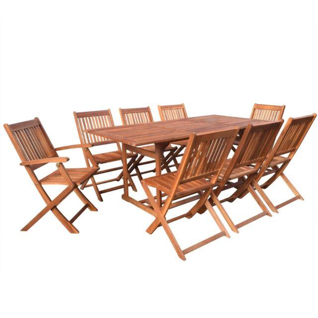 Outdoor 9pcs Dining Table Chair Set Acacia Wood Garden Furniture Patio Seat