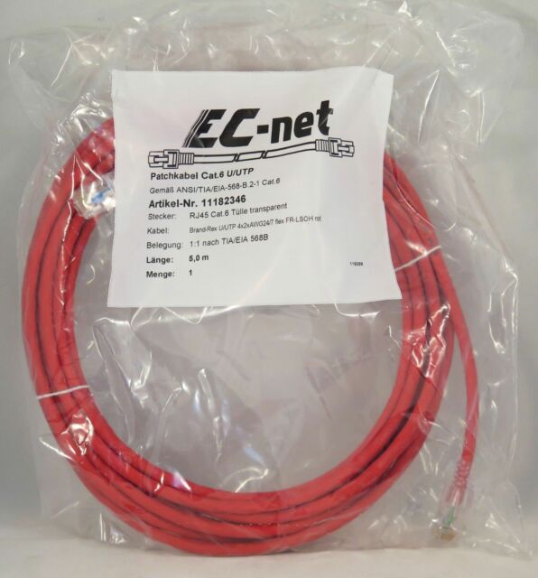 EC-net Patchkabel Kat. 6 U/UTP, rot/transparent, 5,0 m Knickschutz PoE+ EN 50173