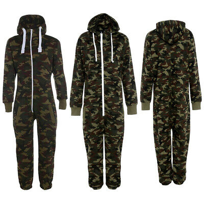 Men/'s Camouflage Print Full Zip Up All In One Hooded Army Camo Jumpsuit Playsuit