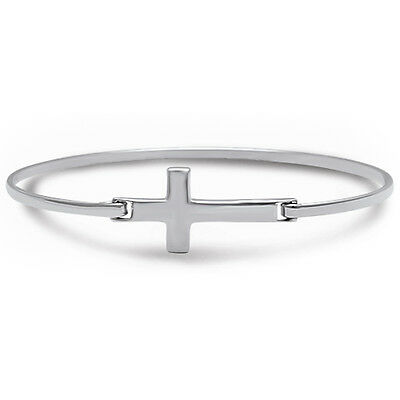 Solid Silver Sideways Cross Bangle Style  .925 Sterling Silver Bracelet