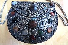 NWT - Metal & Agate Stone Handbag/Purse SAJAI EVENING BAG Handcrafted in India