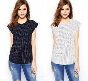 d4486c80119 Summer Women Fashion Top Print Chiffon Polka Dot Short Sleeve T ...