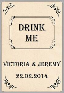 Image Is Loading 8x Wine Bottle Drink Me Stickers Vintage Cream