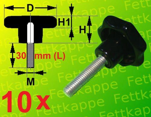 10 x Sterngriffschraube M10 x 30mm Griff Ø 40mm Sternschraube Klemmschraube