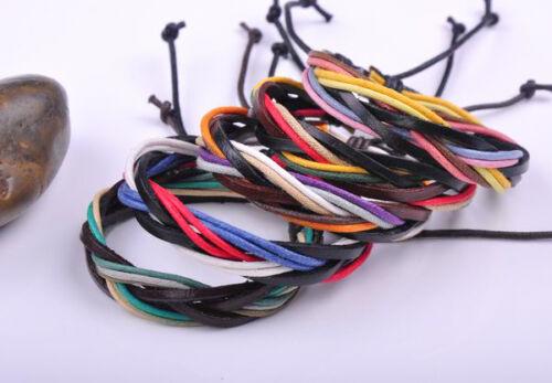 2PCS Surfer Colorful Handmade Chanvre Cuir Tressé Unisexe Bracelet Bangle Cuff D
