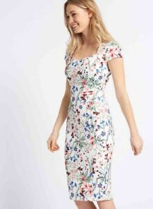 11a832acc3508 Image is loading Marks-amp-Spencer-Floral-Bodycon-Midi-Dress-UK10-