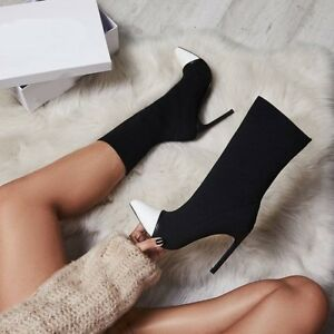 UK-Women-Slim-High-Heel-Ankle-Boots-Stilettos-Stitched-Pointy-Toe-Mid-Calf-Shoes