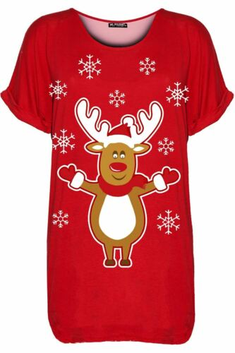 Ladies Womens Xmas Oversized Christmas Santa Rudolph Beer Batwing Baggy T Shirt