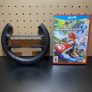 Mario Kart 8 Nintendo Wii U Game With Black Steering Wheel - Tested - Free Ship