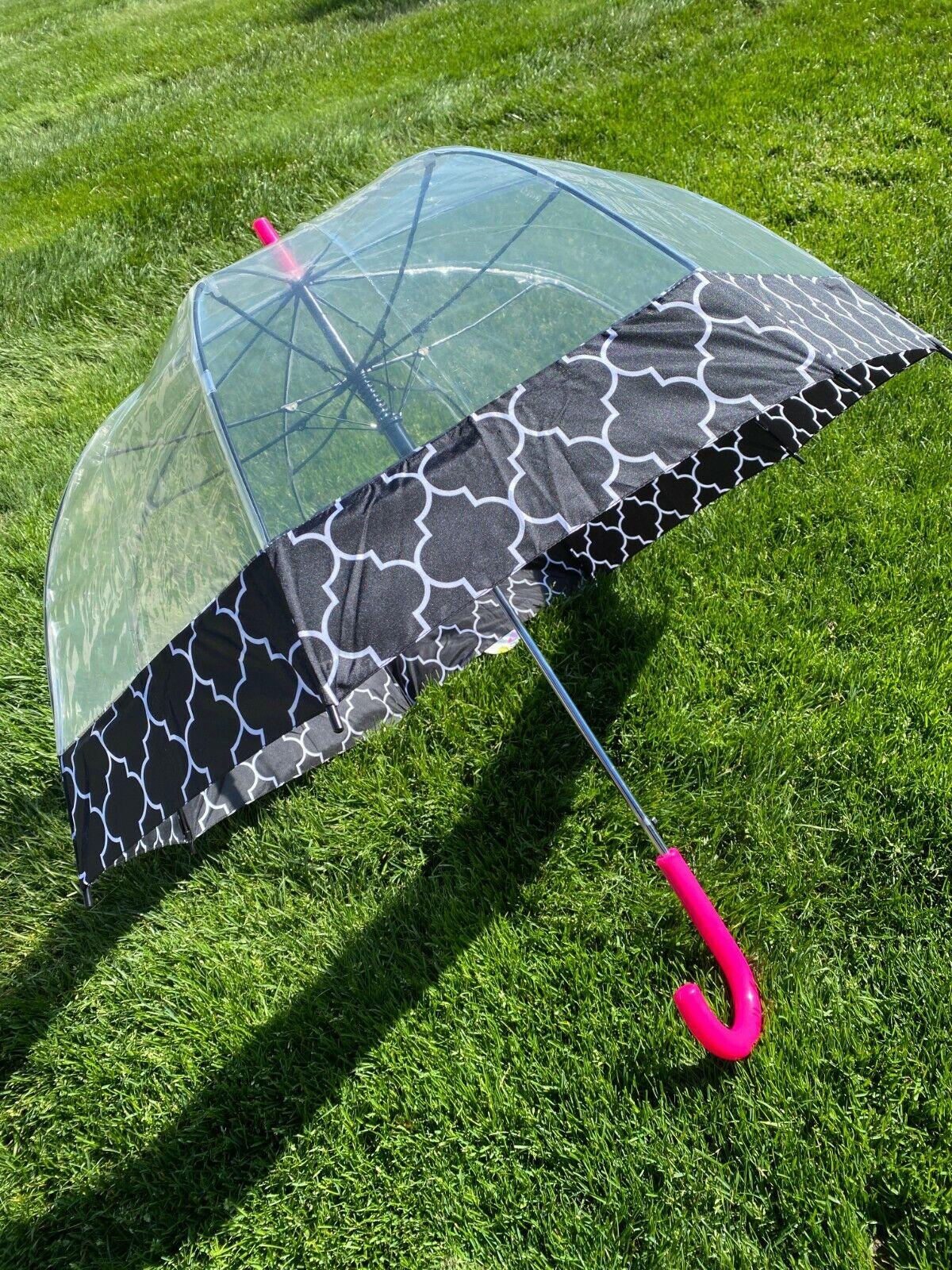 NEW ShedRain Bubble Dome Umbrella Quick Release Black Fabric Trim