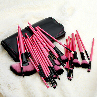 Pro 32 PCS Makeup Brush Brushes Kit Cosmetic Set Wood + Pouch Bag Case Rose Red