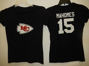 reputable site 5cb1f 51f49 Details about 9715-5 WOMENS Kansas City Chiefs PATRICK MAHOMES V-Neck  Jersey Shirt BLACK New