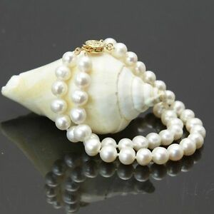 2-Row-AAA-9-10mm-South-Sea-White-Pearl-Bracelet-7-5-8-039-14k-Clasp