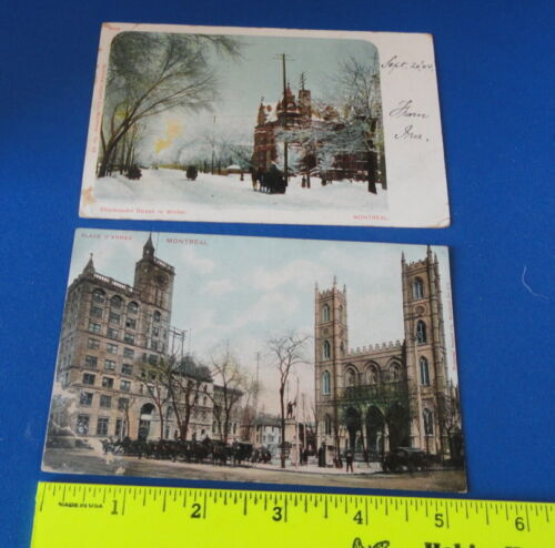2 Old Postcards Montreal Canada PM 1904