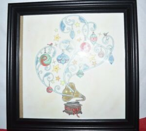 Colorful Christmas Ornaments Drawings.Colored Pencil Drawing Of Phonograph With Christmas