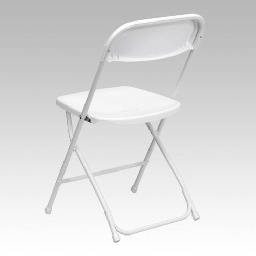 10 PACK 650 Lbs Weight Capacity Commercial Quality White Plastic Folding Chair