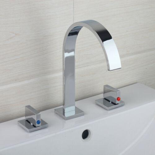 AS 3PCS Chrome Brass Bathroom Sink Basin Dual Knobs Control Mixer Tap Faucet Set
