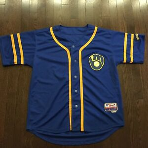 low priced a2dfd 13408 Details about Vintage Retro Milwaukee Brewers MLS Majestic Jersey Mens Size  48 Sewn
