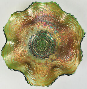 Fenton-Persian-Medallion-Green-Bowl-Carnival-Glass-Antique-Flared-Footed-Dish