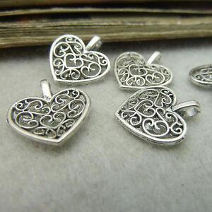 10-Stuecke-Tibet-Silber-Antiksilber-Platt-Herzen-Anhaenger-Charms-Beads-16x14mm