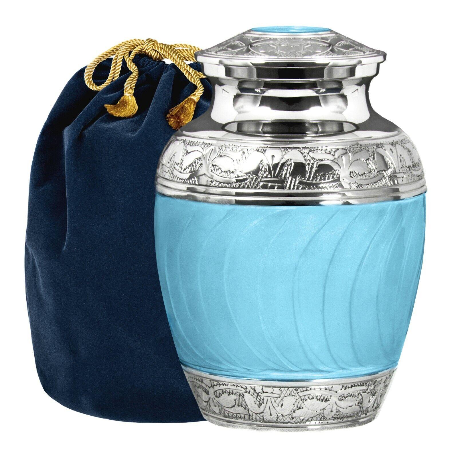 Abrazos y besos Elegante Luz Azul Niño urna para cenizas humanas-W Bolsa De Terciopelo