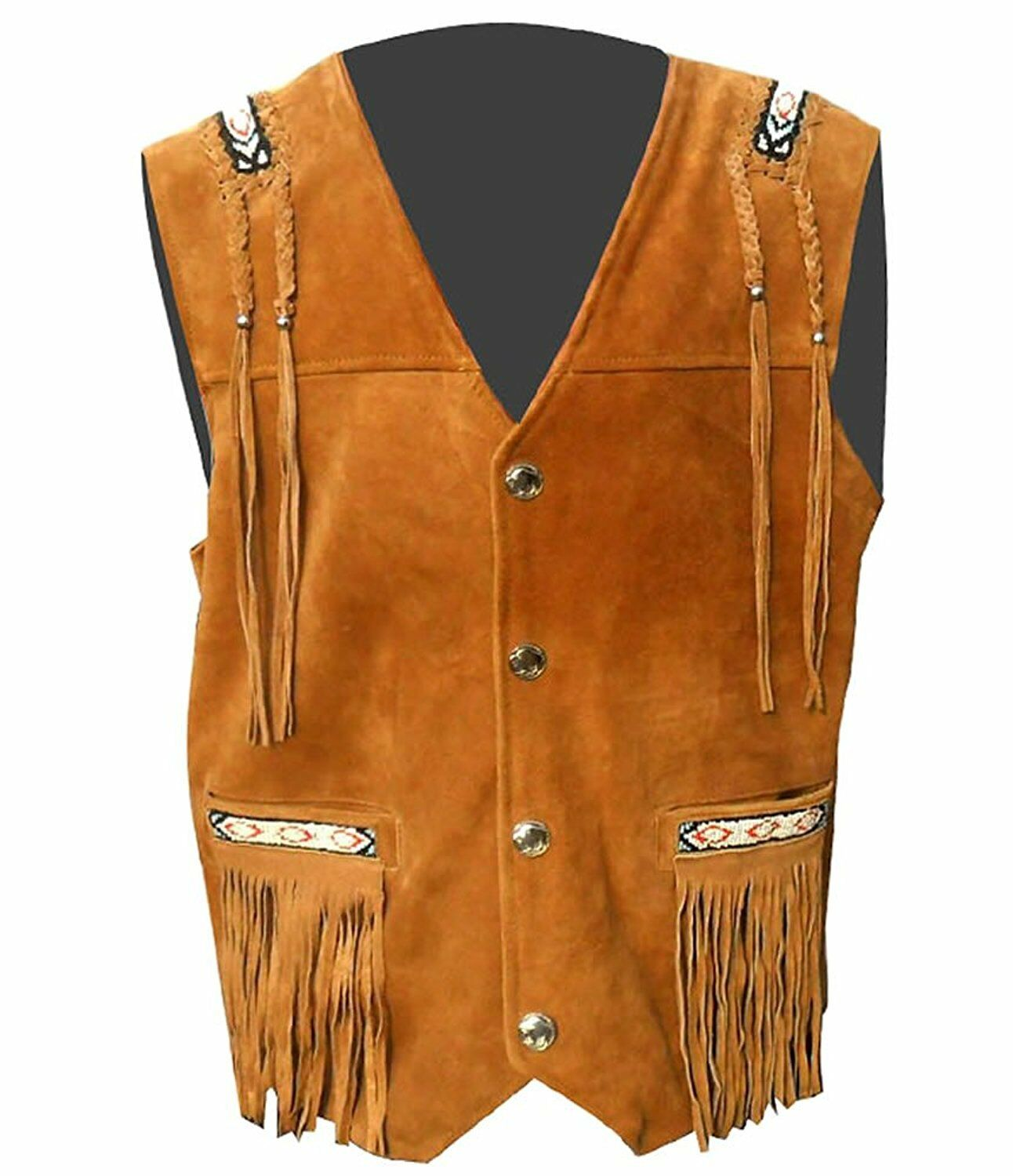 Vipzi Men's Western wear cowhide Suede Leather vest with Fringe and bone beads