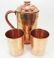 Copper Jug With 2 Copper Water Glasses for (Natural Health and Nervous System)
