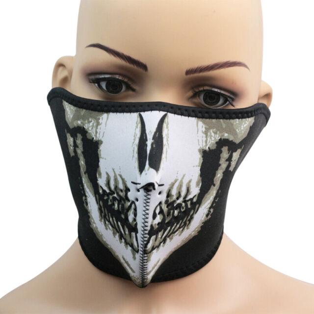 Skull Black Reversible Neoprene Half Face Mask Ski Snow Motorcycle Sport RJX
