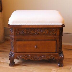 Etonnant Image Is Loading Wood Vanity Stool Storage  Ottoman Carved Upholstered Footstool