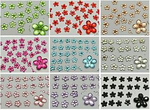 1000-Acrylic-Flatback-Faceted-Flower-Rhinestone-Gems-6mm-Pick-Your-Color
