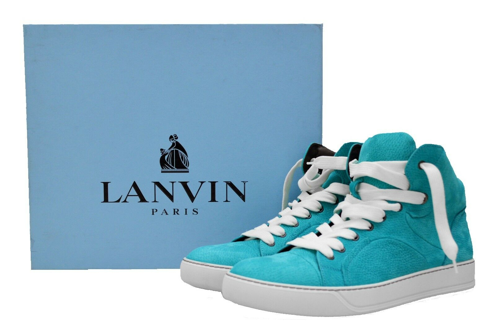 LANVIN PARIS Men's Textured Leather High-top Sneakers, Aqua bluee 9 ITALY  950