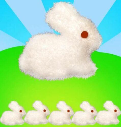 5 White Easter Bunnies Foam Soft Bonnet Decoration Craft Fluffy Kids Rabbit