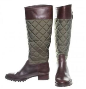 1e2499aaa3d TORY BURCH BROWN ROWAN QUILTED LEATHER Pull-On RIDING TALL BOOT SZ ...
