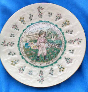 Rare-Royal-Doulton-Plate-from-Kate-Greenaway-039-s-Almanack-Collection-Pisces
