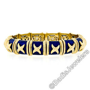 Hidalgo-18k-or-Jaune-Royal-Email-Bleu-X-Flexible-Lien-Manchette-Bracelet
